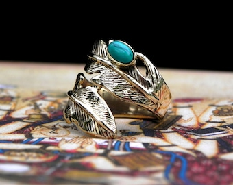 Turquoise Gold Feather Ring Bohemian Gypsy Jewelry