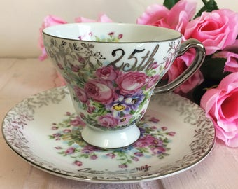 Vintage 1960s Tea Cup and Saucer 25th Anniversary Pink Cabbage Roses Anemone