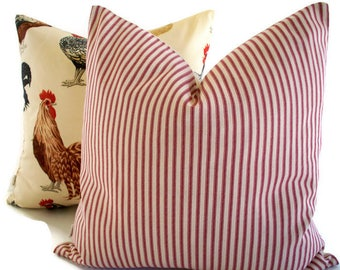 Ticking Pillow, Farmhouse Pillow Cover Red Cream Ticking Stripe Farmhouse Cottage Pillow 0
