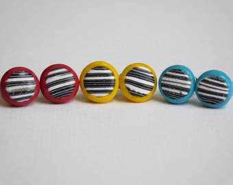 Small Polymer Clay Stud Earrings, 8 mm studs