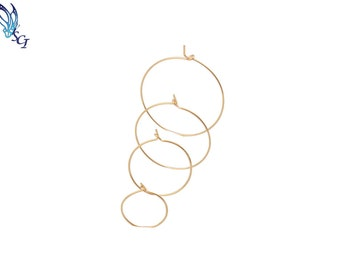 2 Pairs Gold Wire Hoop Earrings, Gold Filled Hoops,Minimalist Hoop Earrings, Simple Hoop Earrings, Gold Hoop Earrings, Gold Hoops GFER105
