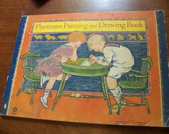 playmates painting and drawing book soft cover  saalfield  publishing 1928