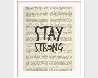 """Printable Inspirational Art, """"Stay Strong"""" Office Wall Art, Printable Decor, Phrase Art, Fitness Art, Typography, Instant Download"""