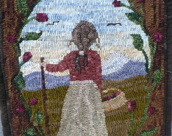 "Rug Hooking Pattern on Linen ""Glory"""
