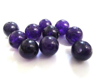 10 pearls dark purple natural jade 8mm (E-26)