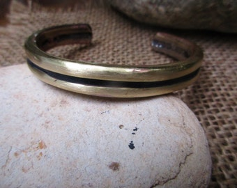 Black Lined Bronze Cuff Bracelet. 4.3mm X 9.3mm Thick and Wide.  Solid.
