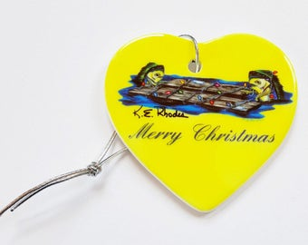 Mahi Mahi Holiday Christmas ornament heart shaped porcelain ready to hang