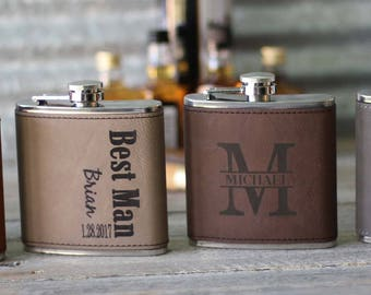 Personalized Groomsmen Leather Flask Gift Groomsman Flask Gift Leather Flask