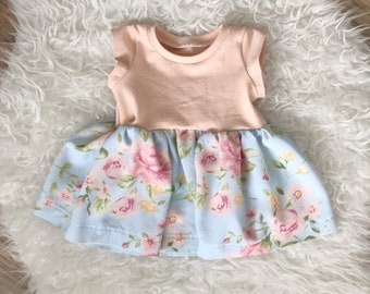 Peach and floral flower girl dress