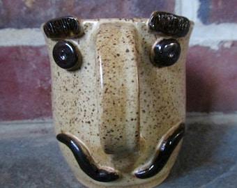 Handmade Ceramic Mug - MR. TEA #2 - Tan and Brown with Mustache