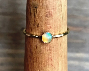 Gold Opal Stacking ring // 14k gold fill // Minimalist Jewelry // Ethiopian Opal // October Birthstone ring
