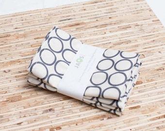 Small Cloth Napkins - Set of 4 - (N859s) - Gray Circle Modern Reusable Fabric Napkins