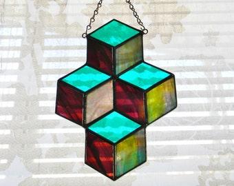 Gestapelte Boxen Glasmalerei Suncatcher in Petrol und schillernden lila - bereit zu versenden