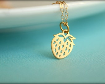 Strawberry Necklace, Available in Sterling Silver or Vermeil and Gold Filled