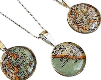 World Map Necklace Sterling  Silver Loop Style Custom Personalized with your City  Wedding Vintage  Atlas Gift