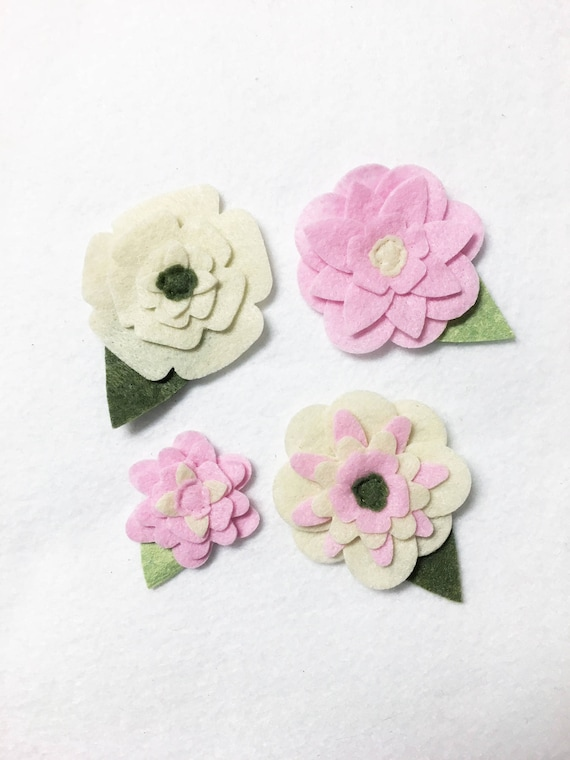 Ivory and Pink Felt Flowers, Loose Flowers for Crafting and Decor, Spring and Summer Blooms, Wedding and Party Decoration