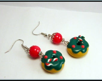 Earrings donuts polymer clay Christmas tree.