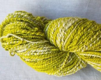 Handspun Natural Yarn - Moss - Handspun from hand dyed Corriedale wool - Chartreuse and heather Grey