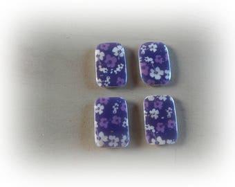 4 purple rectangle beads 30 * 20 mm hibiscus flower