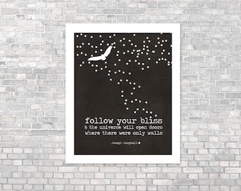 Follow Your Bliss - Inspirational Motivational Typography Digital Art Print Poster - Gray Black Stars