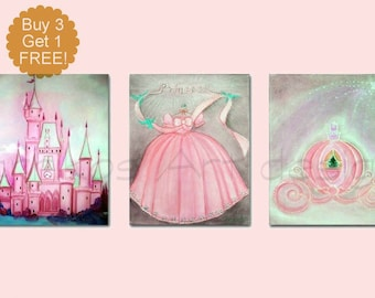 Princess Nursery Decor, Girl Nursery Art, Baby girl nursery, Cinderella Art, SET 3, Girls room Decor, Princess Wall Art, Girl Nursery Decor