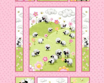 "Susybee Fabric Panel, Sheeps Fabric : Lal, the Lamb - lamb on a grass meadow quilt top PINK 100% cotton fabric by the Panel 35""x43"" (SB41)"
