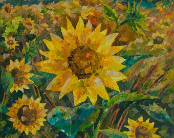 Sunflower Sunset  Field of sunflowers Painting original Oil on canvas Paletteknife Flower painting