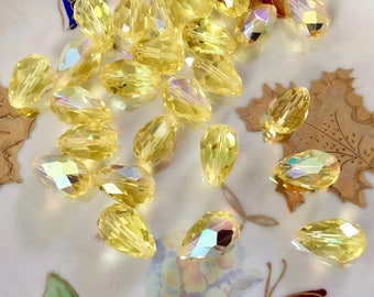 Large Vintage Swarovski Jonquil Yellow Faceted Teardrop Beads with A.B.