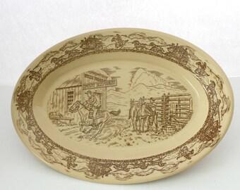"Tepco Western Traveler 14"" Platter, Vintage Pony Express Restaurant Ware China Serving Tray"