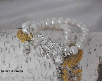 Handmade Weddings Freshwater Pearl Bracelet   Bridsmaids Gifts, bridal jewellery
