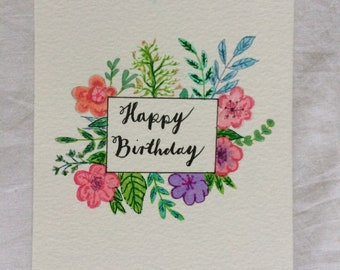 Handmade Birthday Card Floral pattern