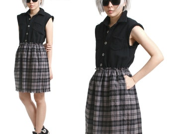 On Sale 24.00 RTBU Cutie Punk Sweatshirt Gray Tartan Flannel Button Sleeveless One Piece Dress