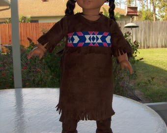 Dark Brown Native American  Dress with Soft Boots fits American Girl, and similar  dolls