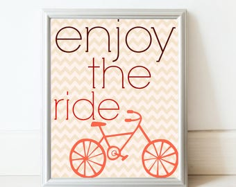 Enjoy the Ride art print in orange//Printable//Bicycle art//kids room decor//Bicycle nursery