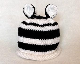 Knit Cotton Zebra Baby Hat great photo prop