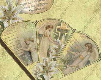Instant Download Digital Printable Easter Victorian Favor Cone Kit Set 1