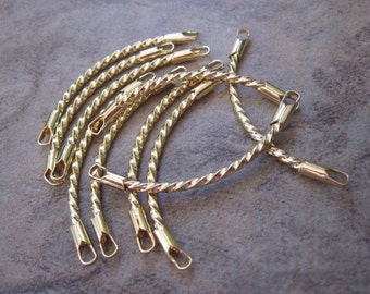 10 Links, gold-plated brass, 38x8mm twisted curved.  - JD212