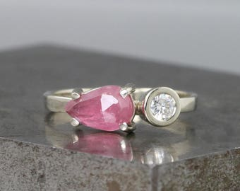 Two Stone 14k White Gold Ring with Rose Cut Pink Sapphire Pear and Moissanite - Delicate, Thin Band - Diamond Alternative Engagement Ring
