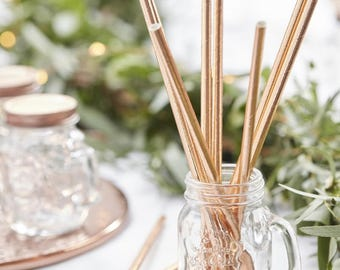 Metallic Rose Gold Paper Straws, Pack of 25, Party Tableware, Wedding, Engagement, Baby Shower, Birthday, Hen Party, Bridal Shower