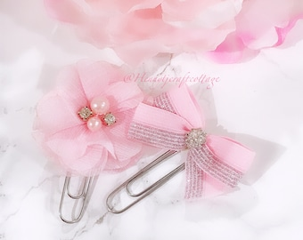 Planner Clip : Baby Pink Shimmery flower and Bow PaperClip set | Page Clip | Bookmark | Page Marker . Planner accessories supply.