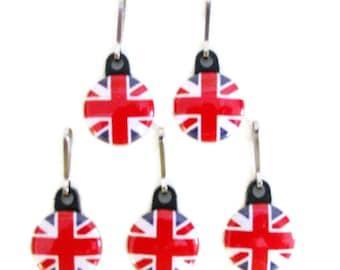 5 ZIPPER PULLS, Brtitish Flags, Patriotic, Union Jack