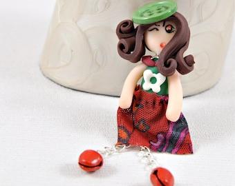 """Small brooch Doll """"Cloé"""""""