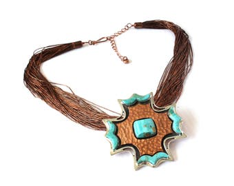 Chunky Copper, Sterling Silver & Natural Turquoise Necklace Pendant