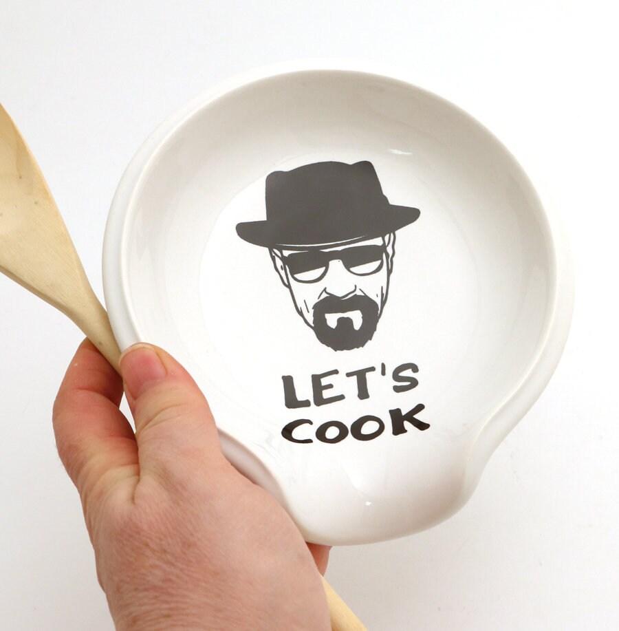 Breaking Bad walter white inspired spoon rest, let's cook, heisenberg fan art, novelty kitchen,
