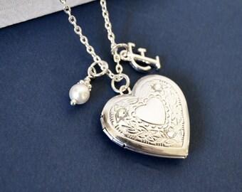 Heart Locket, Silver Heart Locket, April Crystal Locket, Birthstone Locket,  Filigree Pendant,  Initial Necklace, Silver Heart Locket