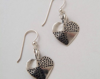 Recycled Dimes Silver Heart Dot Earrings made from Vintage US Silver Dimes