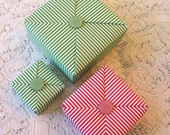 Origami Box - Handmade Christmas Gift Box - Striped Gift Box - Holiday Packaging