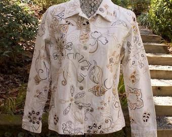 Vintage Embroidered Jacket - Laura Ashley white floral beaded cotton jacket size medium