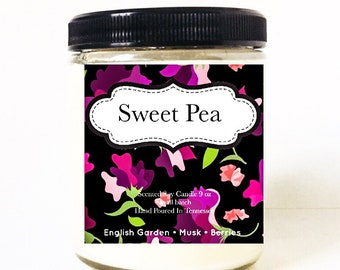 Sweet Pea Candle - Scented Soy Candle - Soy Wax Candle - Soy Candles - Candles Handmade - 9 oz Jar Candle - Candle Gift - Floral - Candles -