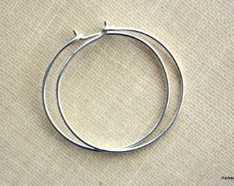 Hoop Earrings , Silver Hoop Earrings , Sterling Silver Hoops , 20 Gauge